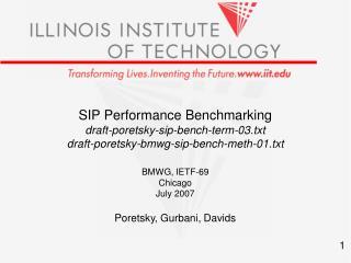 SIP Performance Benchmarking draft-poretsky-sip-bench-term-03.txt