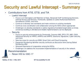 Security and Lawful Intercept - Summary