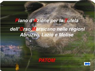 P iano d� A zione per la  T utela  dell� O rso  M arsicano nelle regioni   Abruzzo, Lazio e Molise