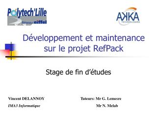 D�veloppement et maintenance sur le projet RefPack