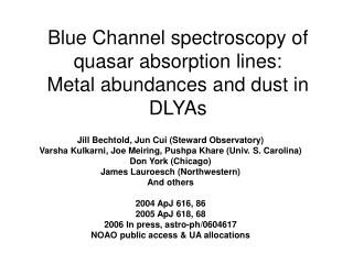 Blue Channel spectroscopy of quasar absorption lines: Metal abundances and dust in DLYAs