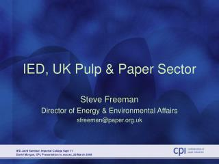 IED, UK Pulp & Paper Sector
