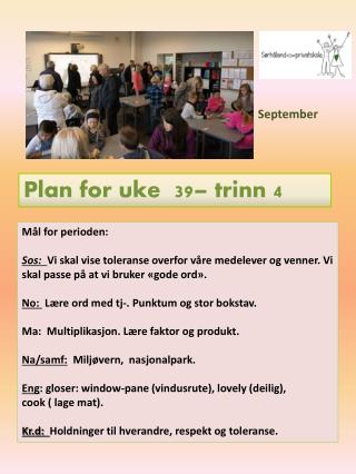 Plan for uke  39 – trinn  4
