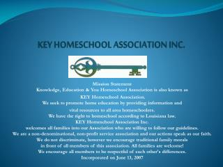 KEY HOMESCHOOL ASSOCIATION INC.