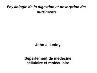 Physiologie de la digestion et absorption des nutriments
