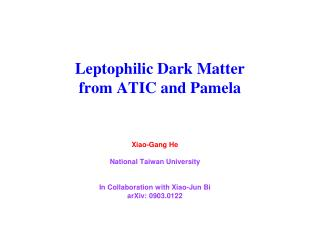Leptophilic Dark Matter  from ATIC and Pamela