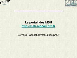 Le portail des MSH msh-reseau.prd.fr
