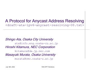 A Protocol for Anycast Address Resolving < draft-ata-ipv6-anycast-resolving-00.txt >