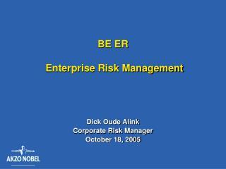 BE ER   Enterprise Risk Management