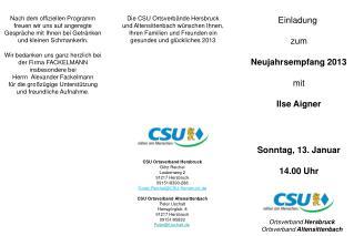 Einladung  zum Neujahrsempfang 2013 mit Ilse Aigner