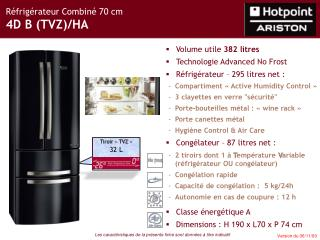 Réfrigérateur Combiné 70 cm 4D B (TVZ)/HA