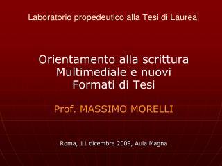 Laboratorio propedeutico alla Tesi di Laurea