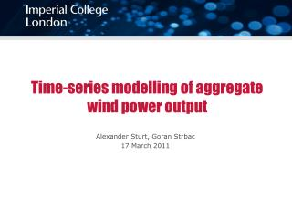 Time-series modelling of aggregate wind power output
