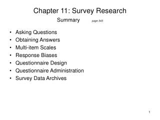 Chapter 11: Survey Research Summary page 343