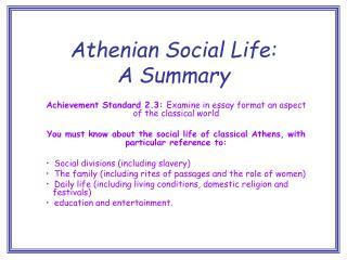 Athenian Social Life: A Summary