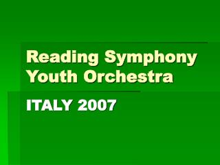 Reading Symphony Youth Orchestra