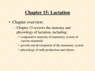 Chapter 15: Lactation