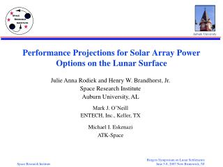 Performance Projections for Solar Array Power Options on the Lunar Surface