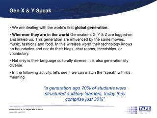 Gen X & Y Speak