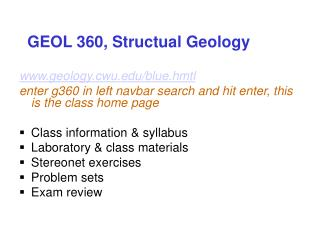 GEOL 360, Structual Geology