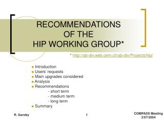 RECOMMENDATIONS OF THE  HIP WORKING GROUP*