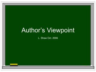Author�s Viewpoint