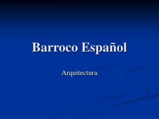 Barroco Espa ol
