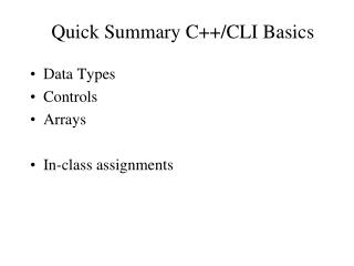 Quick Summary C++/CLI Basics