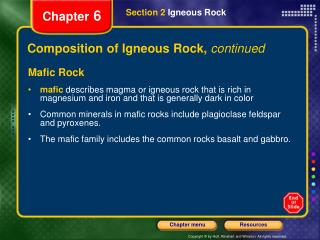 Composition of Igneous Rock,  continued