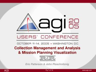 Collection Management and Analysis & Mission Planning Visualization