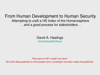 From Human Development to Human Security