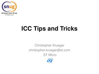 ICC Tips and Tricks