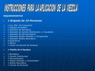 INSTRUCCIONES  PARA  LA APLICACION  DE  LA  MEZCLA