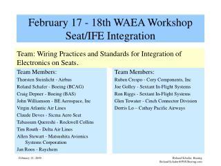 February 17 - 18th WAEA Workshop Seat/IFE Integration