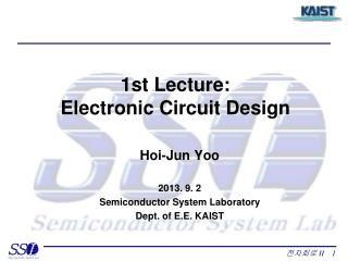 1st Lecture:  Electronic Circuit Design