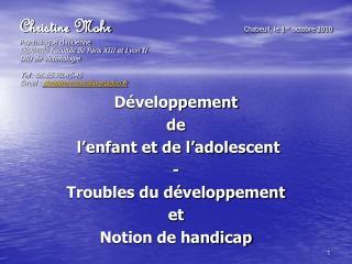Développement  de    l'enfant et de l'adolescent - Troubles du développement  et