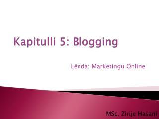 Kapitulli  5: Blogging