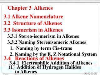 Chapter 3  Alkenes