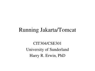Running Jakarta/Tomcat