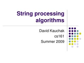 String processing algorithms