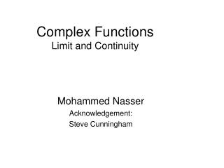Complex Functions Limit and Continuity