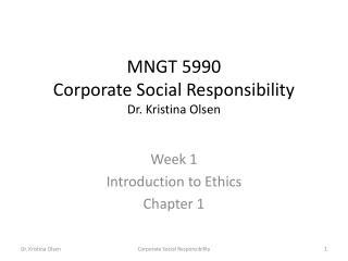 MNGT 5990 Corporate Social Responsibility Dr. Kristina Olsen