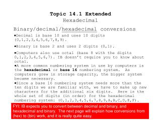 Topic 14.1 Extended Hexadecimal