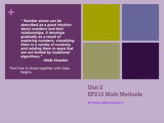 Unit 2  EP210 Math Methods
