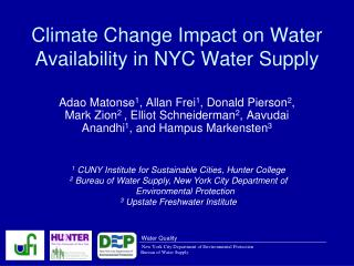 Climate Change Impact on Water Availability in NYC Water Supply
