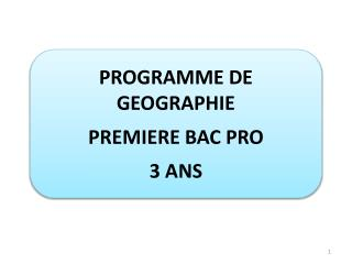PROGRAMME DE  GEOGRAPHIE PREMIERE BAC PRO  3 ANS