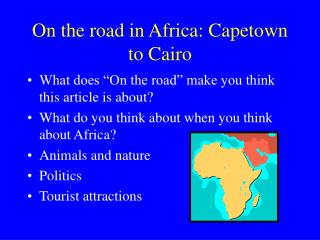 On the road in Africa: Capetown to Cairo