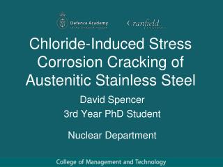 Chloride-Induced Stress Corrosion Cracking of Austenitic Stainless Steel
