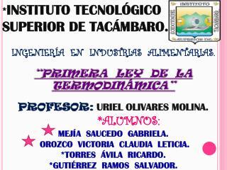 * INSTITUTO TECNOLÓGICO SUPERIOR DE TACÁMBARO. INGENIERÍA  EN  INDUSTRIAS  ALIMENTARIAS.
