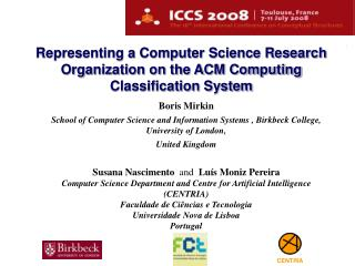 Representing a Computer Science Research Organization on the ACM Computing Classification System